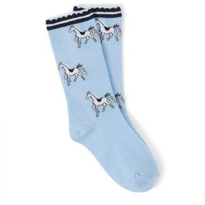 Janie and Jack Baby Girls Horse Print Boot Sock